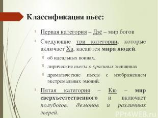 Классификация пьес: Первая категория – Дзё – мир богов Следующие три категории,