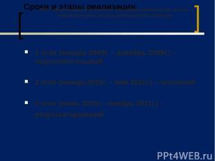 Сроки и этапы реализации 1 этап (январь 2009г. – декабрь 2009г.) – подготовитель
