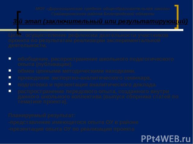 3-й этап (заключительный или результатирующий) Цель: осуществление рефлексии деятельности участников проекта по результатам реализации экспериментальной деятельности. обобщение, распространение школьного педагогического опыта (публикации). обмен цен…