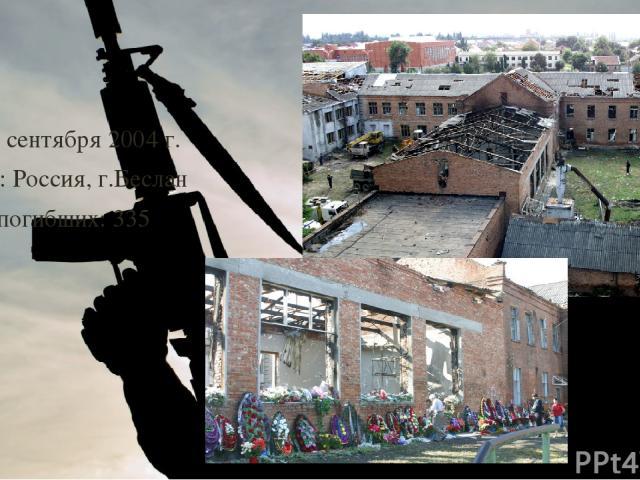 Дата: 1 сентября 2004 г. Страна: Россия, г.Беслан Число погибших: 335