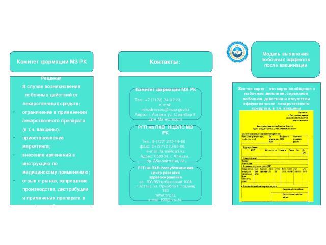 Решения В случае возникновения побочных действий от лекарственных средств: ограничение в применении лекарственного препарата (в т.ч. вакцины); приостановление маркетинга; внесение изменений в инструкцию по медицинскому применению; отзыв с рынка, зап…