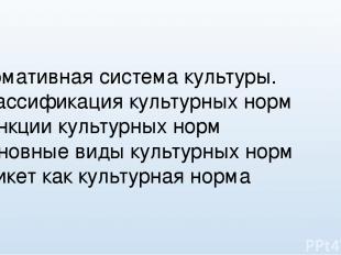 Нормативная система культуры. -Классификация культурных норм -Функции культурных