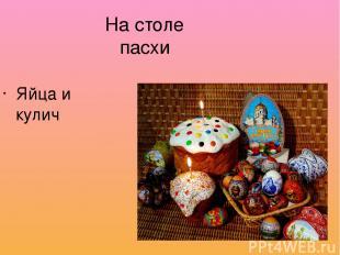 На столе пасхи Яйца и кулич