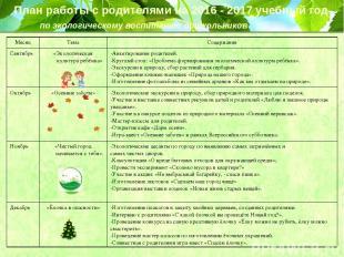 План работы с родителями на 2016 - 2017 учебный год по экологическому воспитанию