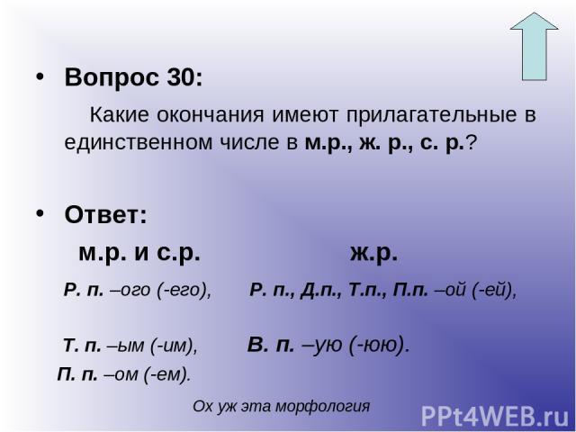 Вопрос 30: Какие окончания имеют прилагательные в единственном числе в м.р., ж. р., с. р.? Ответ: м.р. и с.р. ж.р. Р. п. –ого (-его), Р. п., Д.п., Т.п., П.п. –ой (-ей), Т. п. –ым (-им), В. п. –ую (-юю). П. п. –ом (-ем). Ох уж эта морфология