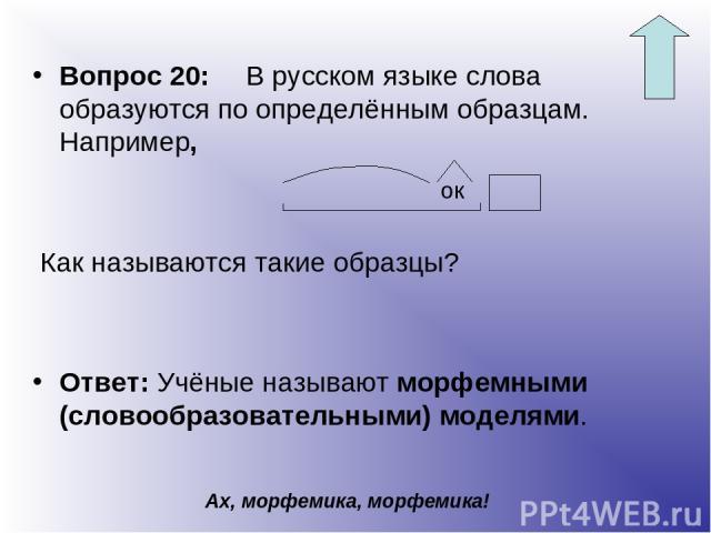 Вопрос 20: В русском языке слова образуются по определённым образцам. Например, Как называются такие образцы? Ответ: Учёные называют морфемными (словообразовательными) моделями. Ах, морфемика, морфемика! ок