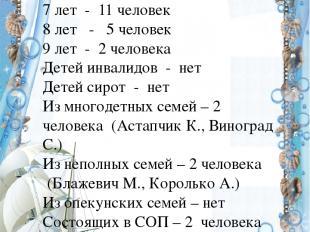 Социальный паспорт экипажа «РОБИНЗОНЫ» Возрастной состав: 7 лет - 11 человек 8 л