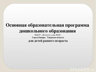 Основная образовательная программа дошкольного образования МДОУ «Детского сада №