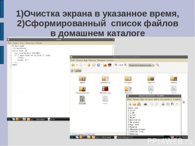 1)Очистка экрана в указанное время, 2)Сформированный список файлов в домашнем каталоге