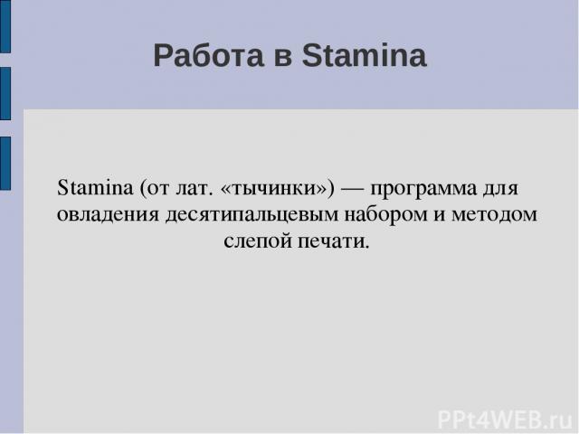 Работа в Stamina Stamina (от лат. «тычинки») — программа для овладения десятипальцевым набором и методом слепой печати.
