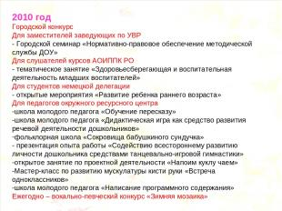 2010 год Городской конкурс Для заместителей заведующих по УВР - Городской семина