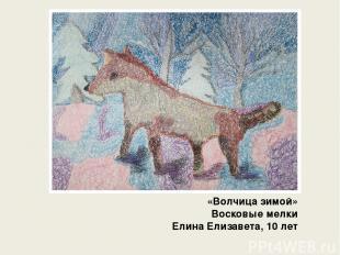 «Волчица зимой» Восковые мелки Елина Елизавета, 10 лет