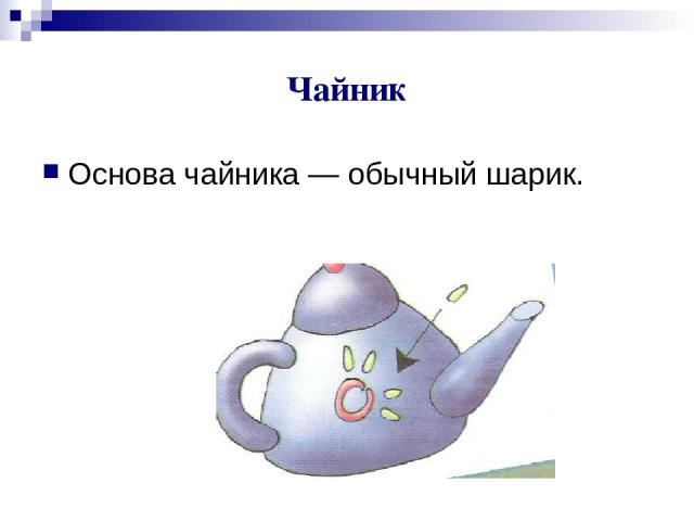 Чайник Основа чайника — обычный шарик.