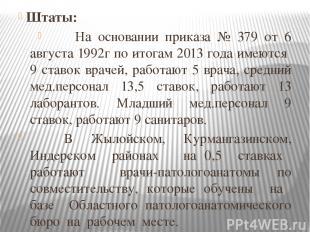 Штаты: На основании приказа № 379 от 6 августа 1992г по итогам 2013 года имеются