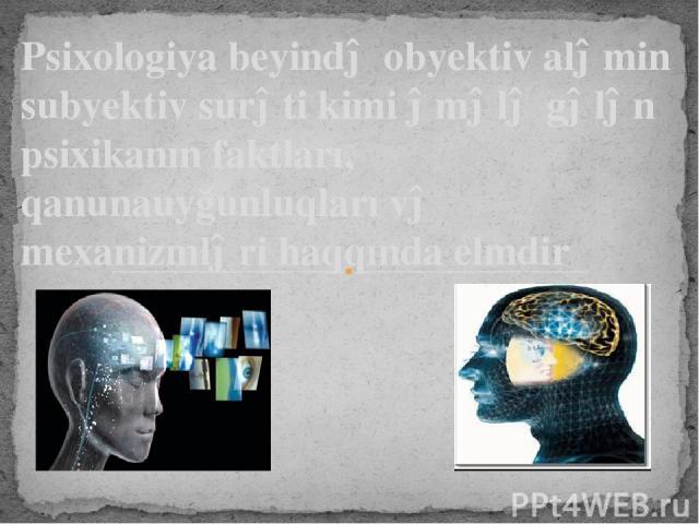 Psixologiya beyində obyektiv aləmin subyektiv surəti kimi əmələ gələn psixikanın faktları, qanunauyğunluqları və mexanizmləri haqqında elmdir