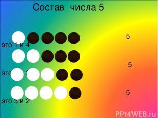 Состав числа 5 5 это 1 и 4 5 это 2 и 3 5 это 3 и 2 5 это 4 и 1