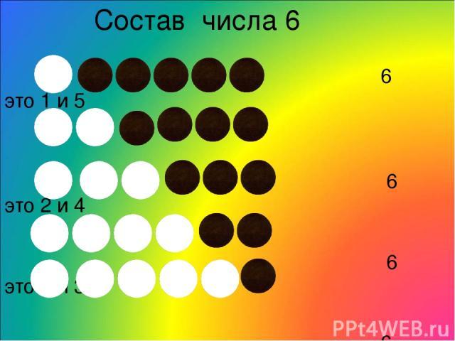 Состав числа 6 6 это 1 и 5 6 это 2 и 4 6 это 3 и 3 6 это 4 и 2 6 это 5 и 1