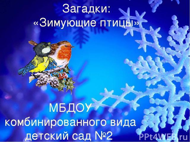 Загадки: «Зимующие птицы» МБДОУ комбинированного вида детский сад №2 логопед: Кнутова Г.А.