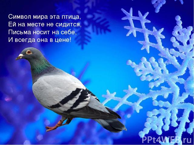 Символ мира эта птица, Ей на месте не сидится, Письма носит на себе, И всегда она в цене!