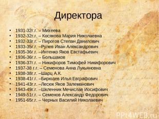 Директора 1931-32г.г. – Михеева 1932-32г.г. – Косякова Мария Николаевна 1932-33г
