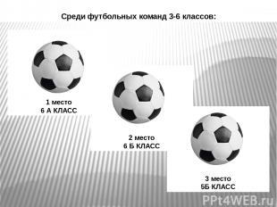 Среди футбольных команд 3-6 классов: 1 место 6 А КЛАСС 2 место 6 Б КЛАСС 3 место
