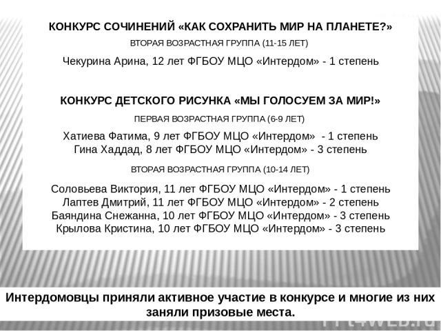 Интердомовцы приняли активное участие в конкурсе и многие из них заняли призовые места. КОНКУРС СОЧИНЕНИЙ «КАК СОХРАНИТЬ МИР НА ПЛАНЕТЕ?» ВТОРАЯ ВОЗРАСТНАЯ ГРУППА (11-15 ЛЕТ) Чекурина Арина, 12 лет ФГБОУ МЦО «Интердом» - 1 степень КОНКУРС ДЕТСКОГО Р…