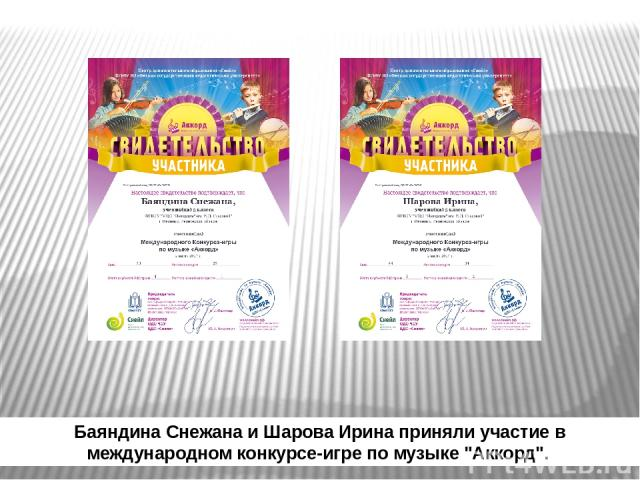 Баяндина Снежана и Шарова Ирина приняли участие в международном конкурсе-игре по музыке