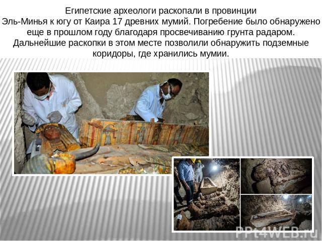 Египетские археологи раскопали впровинции Эль-Миньякюгу отКаира 17 древних мумий. Погребение было обнаружено еще впрошлом году благодаря просвечиванию грунта радаром. Дальнейшие раскопки вэтом месте позволили обнаружить подземные коридоры, г…
