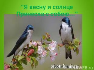 """Я весну и солнце Принесла с собою…"""