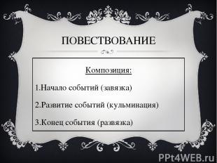 ПОВЕСТВОВАНИЕ Композиция: Начало событий (завязка) Развитие событий (кульминация