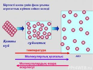 Біртекті қоспа үшін фаза ұғымы агрегаттық күймен сәйкес келеді сұйықтық газ Қатт