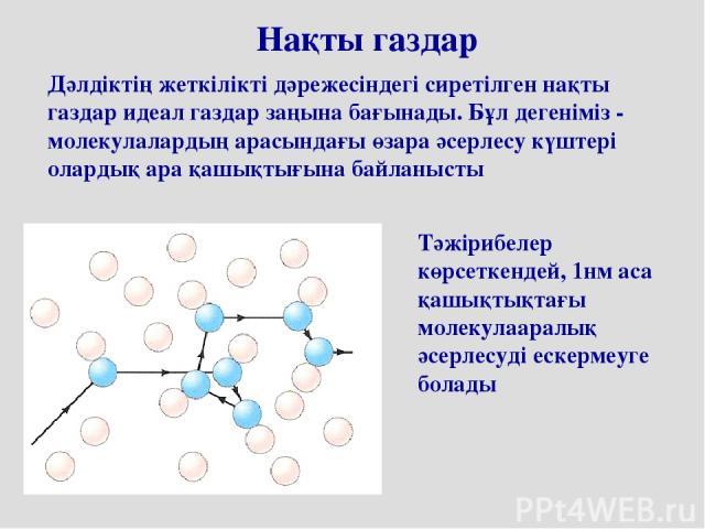 Нақты газдар Дәлдіктің жеткілікті дәрежесіндегі сиретілген нақты газдар идеал газдар заңына бағынады. Бұл дегеніміз - молекулалардың арасындағы өзара әсерлесу күштері олардық ара қашықтығына байланыcты Тәжірибелер көрсеткендей, 1нм аса қашықтықтағы …