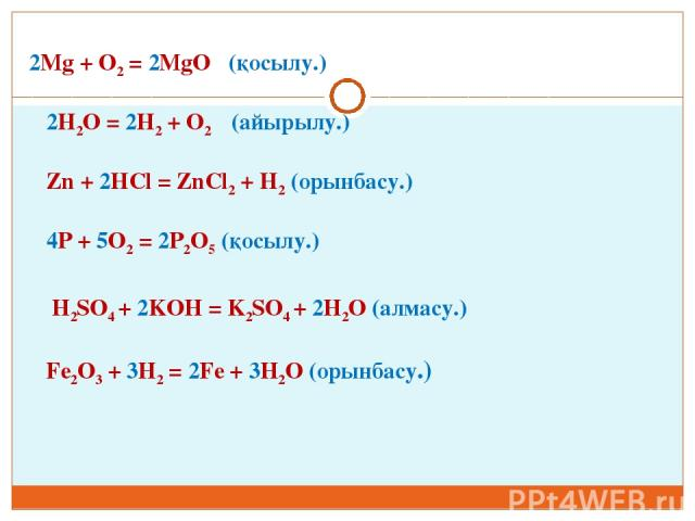 2Mg + O2 = 2MgO (қосылу.) 2H2O = 2H2 + O2 (айырылу.) Zn + 2HCl = ZnCl2 + H2 (орынбасу.) 4P + 5O2 = 2P2O5 (қосылу.) H2SO4 + 2KOH = K2SO4 + 2H2O (алмасу.) Fe2O3 + 3H2 = 2Fe + 3H2O (орынбасу.)