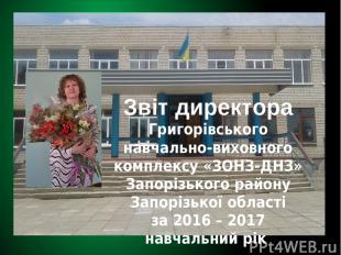 Звіт директора Григорівського навчально-виховного комплексу «ЗОНЗ-ДНЗ» Запорізьк