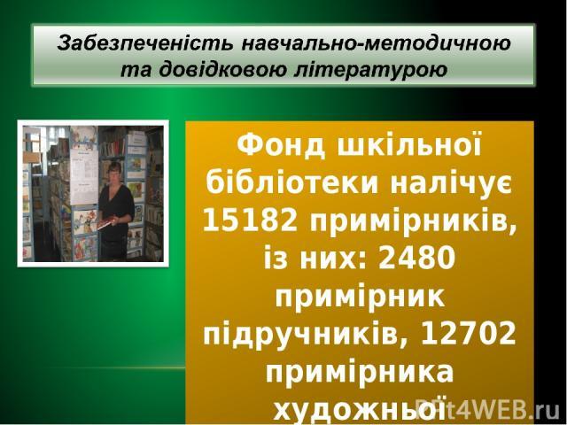Фонд шкільної бібліотеки налічує 15182 примірників, із них: 2480 примірник підручників, 12702 примірника художньої літератури, брошур журналів.