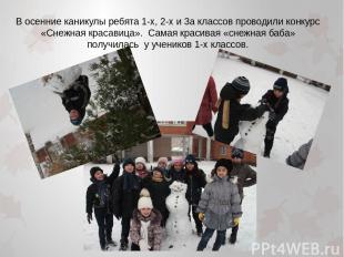 В осенние каникулы ребята 1-х, 2-х и 3а классов проводили конкурс «Снежная краса