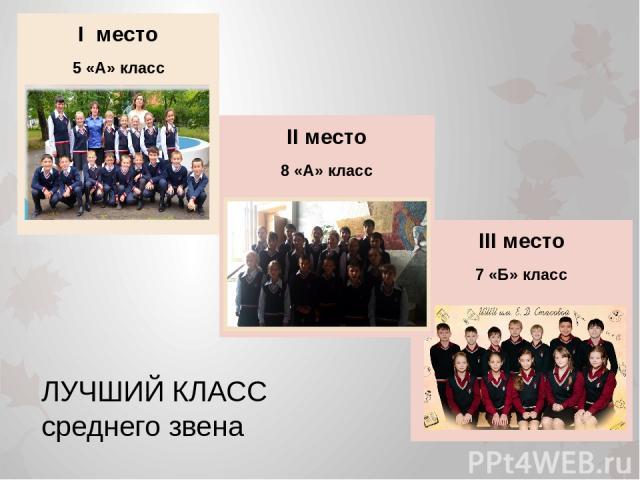 III место 7 «Б» класс II место 8 «А» класс I место 5 «А» класс ЛУЧШИЙ КЛАСС среднего звена