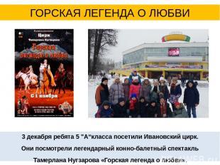 """3 декабря ребята 5 """"А""""класса посетили Ивановский цирк. Они посмотрели легендарны"""