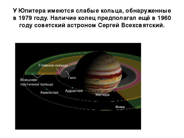 У Юпитера имеются слабые кольца, обнаруженные в 1979 году. Наличие колец предполагал ещё в 1960 году советский астроном Сергей Всехсвятский.