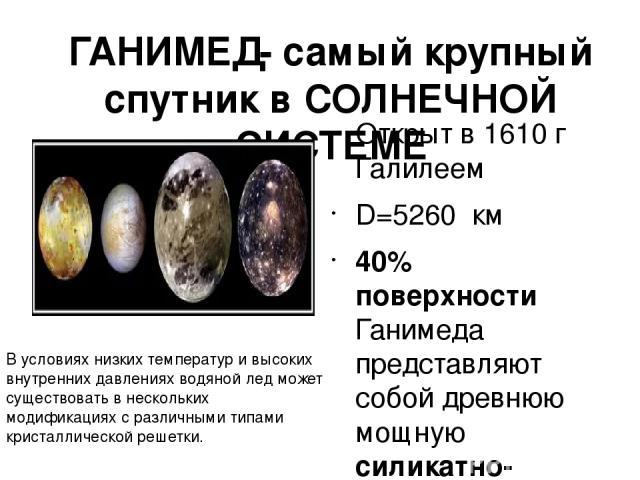 ГАНИМЕД- самый крупный спутник в СОЛНЕЧНОЙ СИСТЕМЕ Открыт в 1610 г Галилеем D=5260 км 40% поверхности Ганимеда представляют собой древнюю мощную силикатно- ледяную кору, покрытую многочисленными метеоритными кратерами и каменное ядроСогласно расчет…