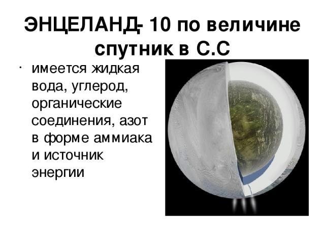 ЭНЦЕЛАНД- 10 по величине спутник в С.С имеется жидкая вода, углерод, органические соединения, азот в форме аммиака и источник энергии