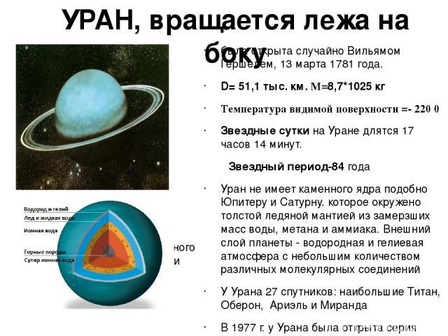 УРАН, вращается лежа на боку была открыта случайно Вильямом Гершелем, 13 марта 1781 года. D=51,1 тыс. км. M=8,7*1025 кг Температура видимой поверхности =- 220 0 Звездные сутки на Уране длятся 17 часов 14 минут. Звездный период-84 года Уран не имеет…