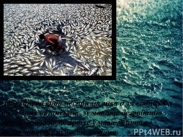 Забруднена вода несприятлива для водних і наземних організмів ,зумовлює деградацію гідробіоценозів,погіршує умови життя і виробничої діяльності людини.