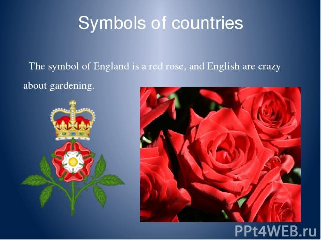 Symbols of countries The symbol of England is a red rose, and English are crazy about gardening.