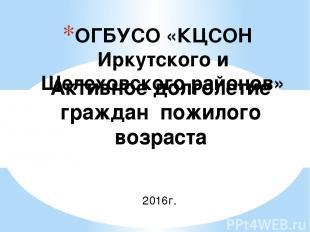 ОГБУСО «КЦСОН Иркутского и Шелеховского районов» Активное долголетие граждан пож