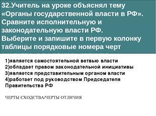 32.Учитель на уроке объяснял тему «Органы государственной власти в РФ». Сравните
