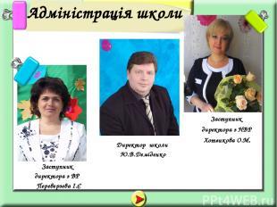Адміністрація школи Заступник директора з НВР Хотєнкова О.М. Заступник директора