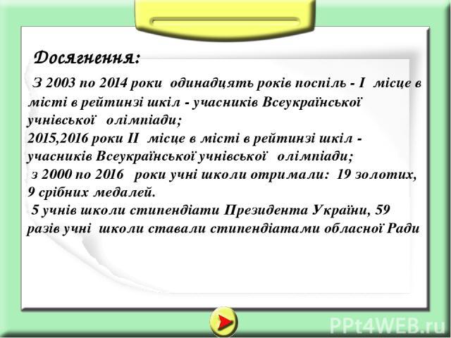 Досягнення: З 2003 по 2014 роки одинадцять років поспіль - І місце в місті в рейтинзі шкіл - учасників Всеукраїнської учнівської олімпіади; 2015,2016 роки ІІ місце в місті в рейтинзі шкіл - учасників Всеукраїнської учнівської олімпіади; з 2000 по 20…