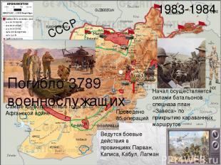 СССР 1983-1984 Ведутся боевые действия в провинциях Парван, Каписа, Кабул, Лагма