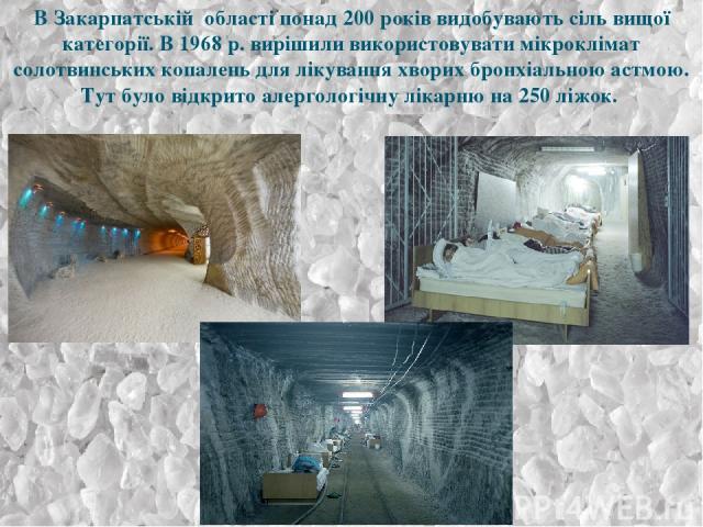 В Закарпатській області понад 200 років видобувають сіль вищої категорії. В 1968 р. вирішили використовувати мікроклімат солотвинських копалень для лікування хворих бронхіальною астмою. Тут було відкрито алергологічну лікарню на 250 ліжок.